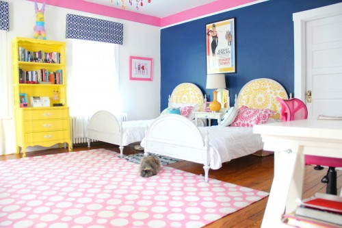 PHOEBE'S CURRENT ROOM COLORS ARE DOWNPOUR BLUE, PINK LADIES AND COTTON BALLS.