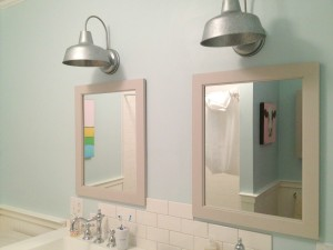 outdoor galvanized light fixtures from Lowes! Mirrors are Martha Stewart Seal harbor.