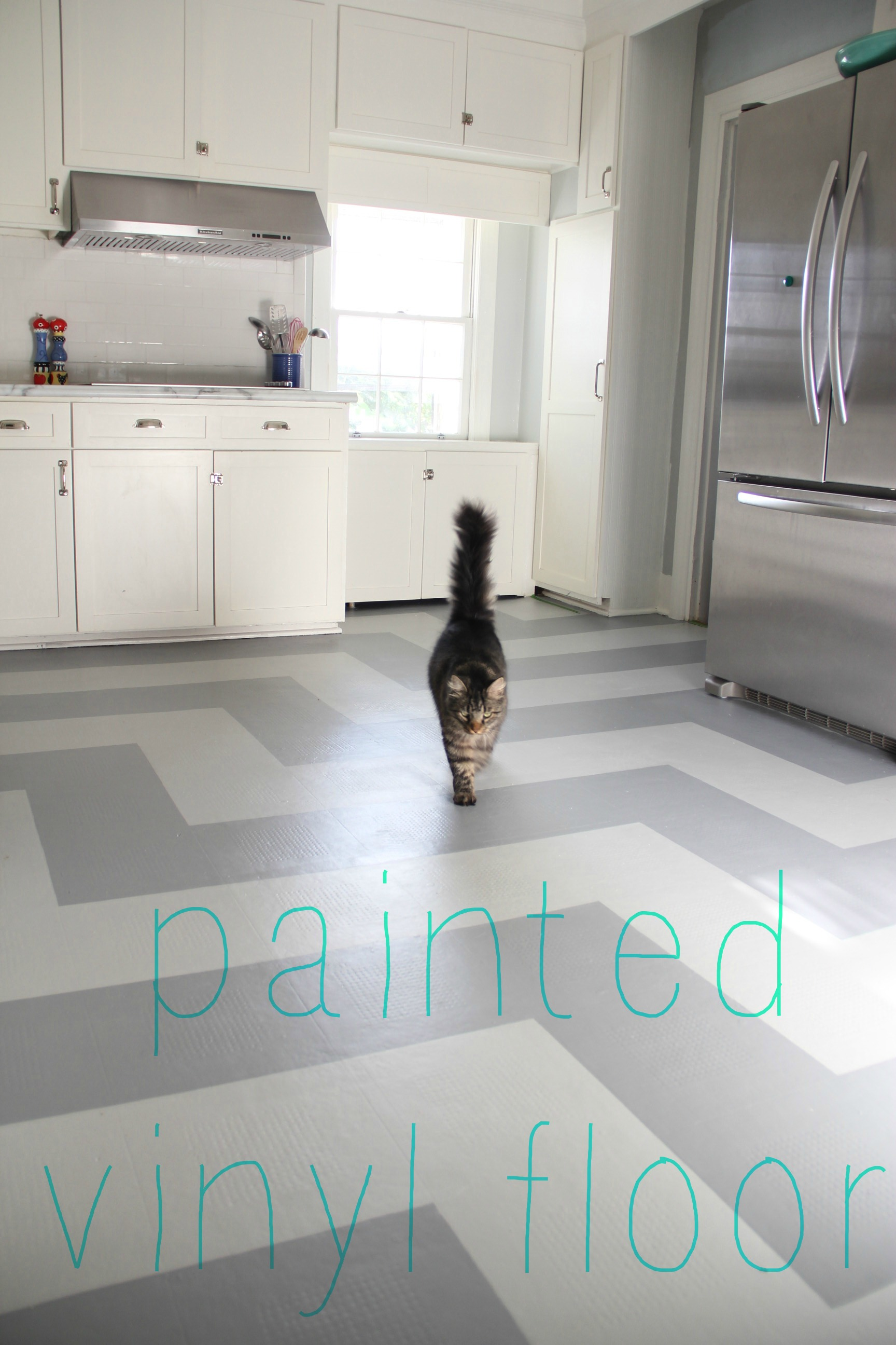 Monday Makeover Painted Vinyl Kitchen Floor