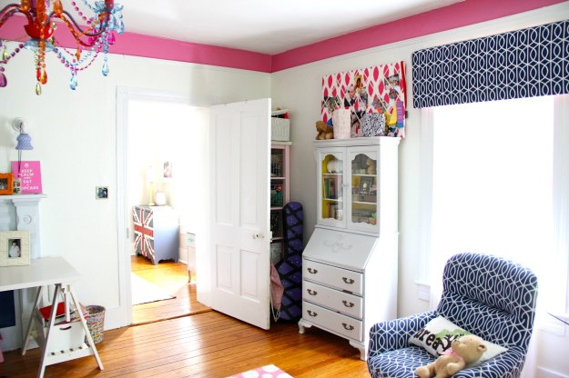 """doorway, secretary Desk painted in Benjamin Moore """"BUNNY GRAY"""" and """"RAIN COAT"""" interior..."""