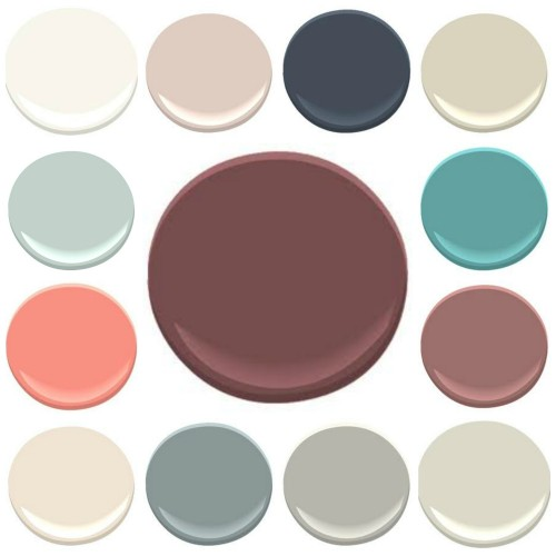ALL BENJAMIN MOORE COLORS- CLOCKWISE FROM TOP LEFT : 1. MOUNTAIN PEAK WHITE, 2. SOUTHER COMFORT, 3. HALE NAVY, 4. JUTE, 5. MAJESTIC BLUE, 6. SOMERVILLE RED, 7. ASHWOOD, 8. GRAY HUSKY, 9. ANCHOR GRAY, 10 PRISTINE, 11. CORAL GABLES, 12 PALLADIAN BLUE