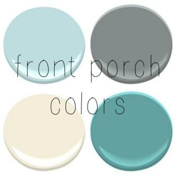 FRONT PORCH – CEILING- BIRDS EGG TRIM- LINEN WHITE, FRONT DOOR – MAJESTIC BLUE, PORCH FLOOR- SHAKER GRAY