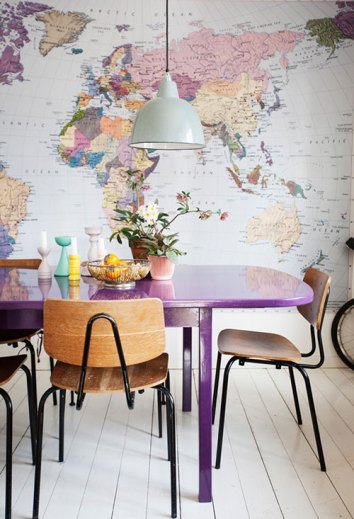 Wallpaper Designs Dining Room Area with World Map Wallpaper and Purple Table with Pendant Light