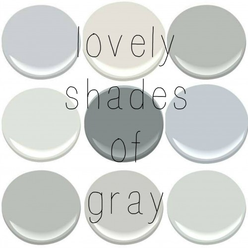 BENJAMIN MOORE: BERGMAN GRAY (tis is a color I made by mixing 6 different grays post HERE), CLASSIC GRAY , COVENTRY GRAY, HORIZON,  SHAKER GRAY, FEATHER, METROPOLITAIN, STONINGTON, WICKHAM GRAY
