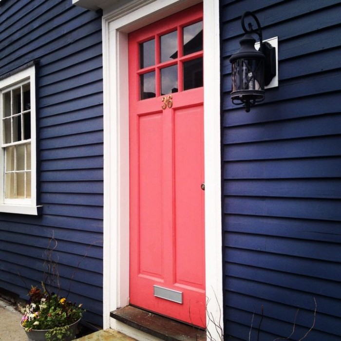 EXTERIOR NAVY WITH CORAL DOOR!!!! LOVE IT! & FIRST IMPRESSIONS - AWESOME FRONT DOOR COLORS! u2013