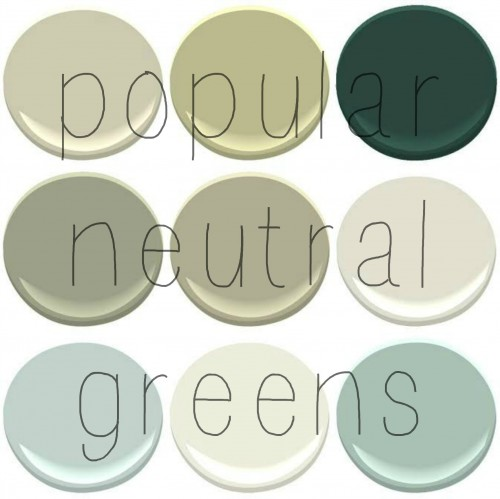 Top Selling Benjamin Moore Greens: Camoflauge, Georgian Green, Hunter Green, Louisberg Green, Nantucket Gray, November Rain, Palladian Blue, Snow on The Mountain, Wythe Blue