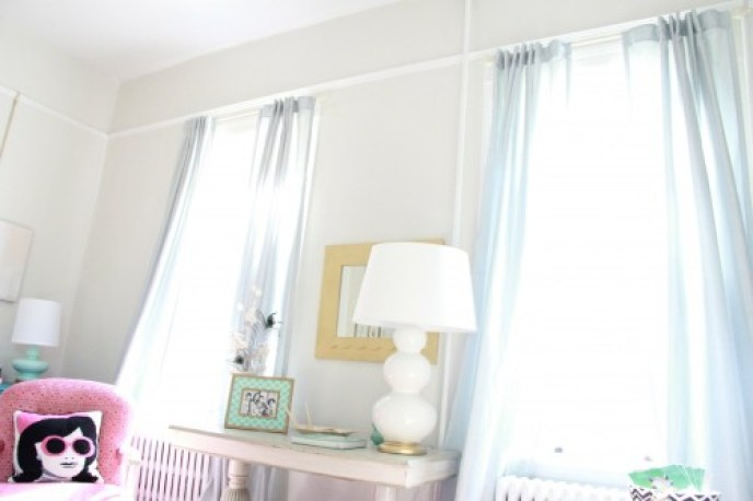 "These curtains are the Martha Stewart ""Faux Silk"" in Rainwater from Home Depot. I just ordered a new pair for the dining room. They look so lovely and with the Tab back, hang beautifully."