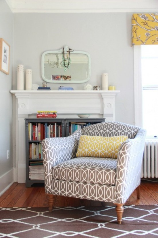 OUR MASTER BEDROOM WITH A PEEK AT THE DWELL STUDIO FABRIC ON THE WINDOWS