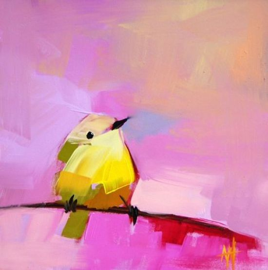 """I DARE YOU NOT TO SMILE AT ANGELA MOULTON'S WORK - THIS PAINTING """"WARBLER NO. 28"""" HAS SOLD BUT VISIT HER SITE FOR SO MUCH MORE...I AM COMOLETELY SMITTEN WITH HER WORK!!!"""