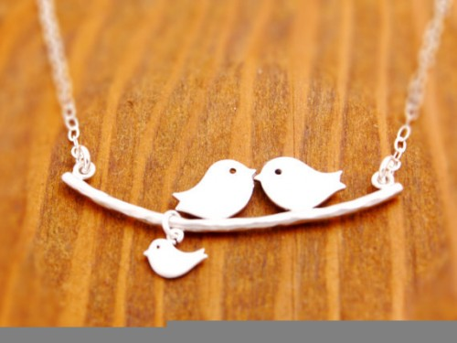 ETSY - MEGUS ATTIC - 1-8 kids, Mother Necklace, love birds necklace, new mom necklace, new parents necklace, Grandmother and Mother necklace, baby shower jewelry