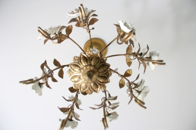 BRASS AND PORCELAIN LAMP