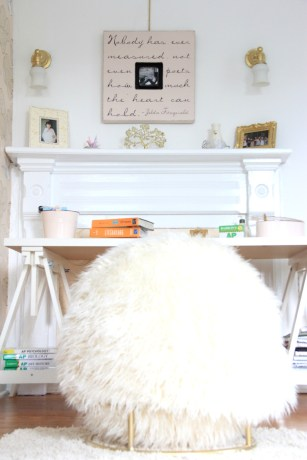 PHOEBES BEDROOM - PAINTED CHANTILLY LACE AND HER IKEA DESK AND NEW PB TEEN DESK CHAIR