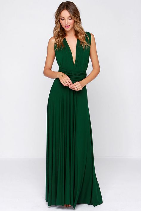 LULUS Tricks Of The Trade Forest Green Maxi Dress