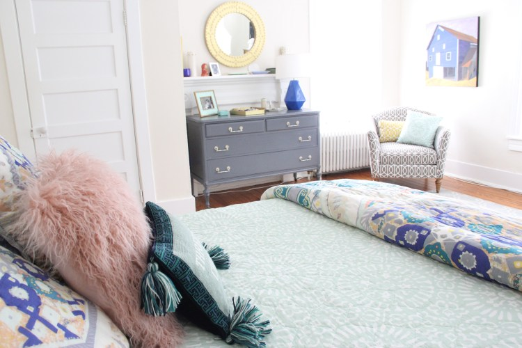 THE UPDATED MASTER BEDROOM - MINT, BLUSH, GRAY AND BLUE