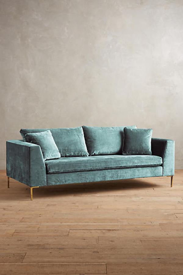ANTHROPOLOGIE SLUB VELVET EDLYN SOFA