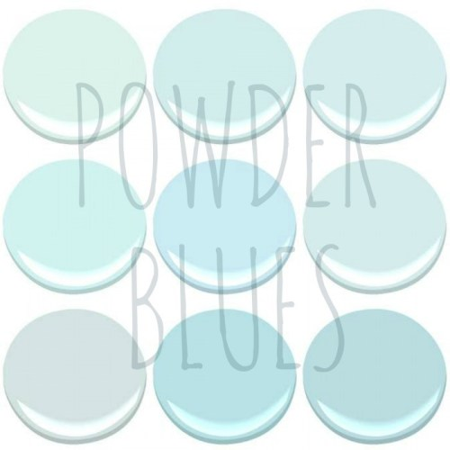 BENJAMIN MOORE POWDER BLUES - BLUE BONNET, CLEAR SKIES, ICY BLUE, ICY MOON DROPS, LIGHT BLUE, MORNING SKY BLUE, OCEAN AIR, TEAR DROP BLUE AND SKYSCRAPER