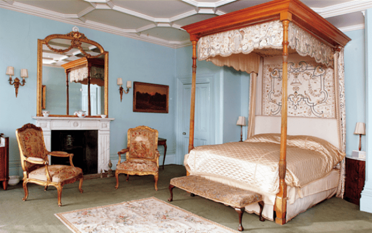"DOWNTON ABBEY MASTER BEDROOM KENSINGTON BLIS ""oft, beautiful, tiffany blue walls (although depending on the lighting, this color ranges from a powder blue, as in this pic, to a more robins-egg blue), four poster canopy bed, ornate gilded mirror & sconces..."""