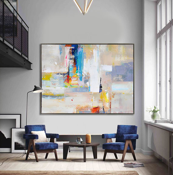 Spectacular  ETSY Handmade Extra Large Contemporary Painting Huge Abstract Canvas Art Painted by Leo White yellow red gray blue u Celine Ziang Art u