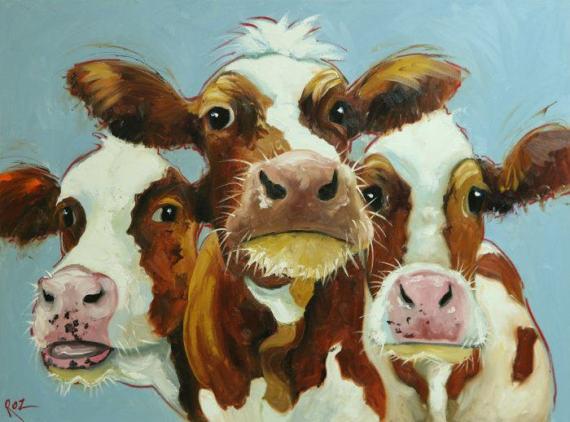 Original Oil Paintings By Roz Art Of Drunken Cows