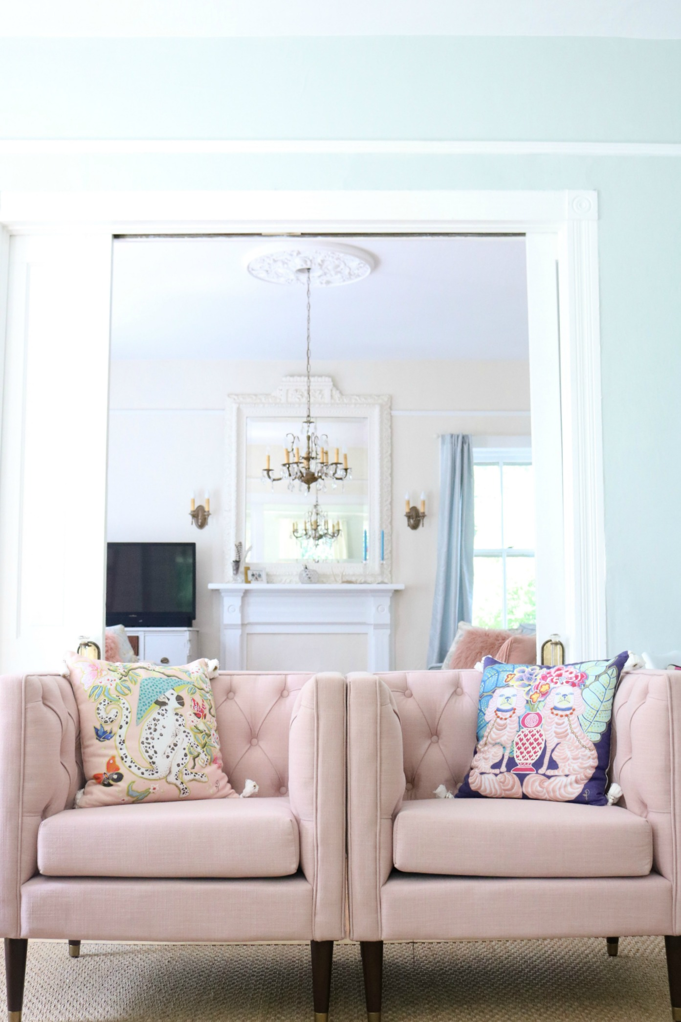 NATE BERKUS FOR TARGET U2013 TUFTED ARM CHAIR IN BLUSH! PILLOWS FROM  ANTHROPOLOGIE