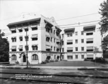 The Hanscom Apartments at 1029 Park Ave, now called the Bristol Apartments. Creator: Bostwick, Louis (1868-1943) and Frohardt, Homer (1885-1972). Publisher: The Durham Musuem. Date: 1924.