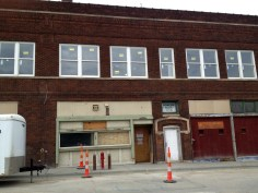 October of 2016. East view of the Powers Pharmacy building. Downtown Boxing Club once housed on the second floor. Site of the 308 Bar in the bay left of the door.