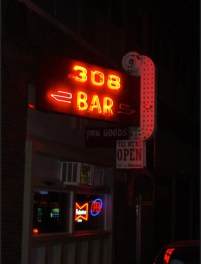 Great 2008 photo of the 308 neon sign. Photo by Admiral 58.