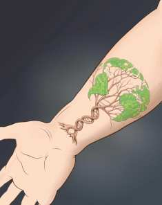 DNA helix growing into tree, printed on person's foremarm skin