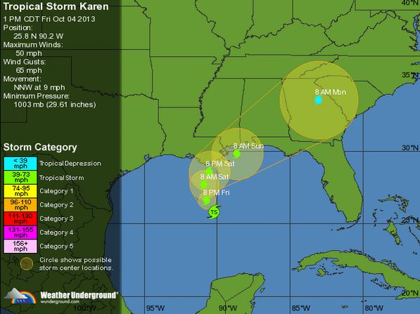 Tropical Storm Karen-Path 10-4-3PM