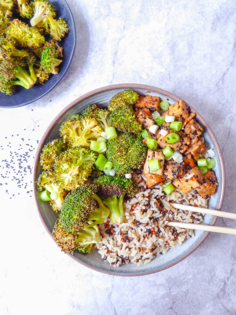 Healthy crispy tofu with medley rice bowl