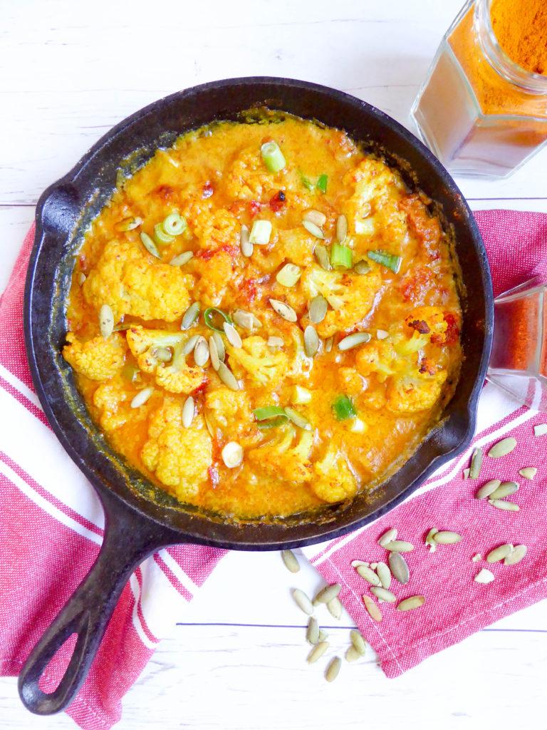 Cauliflower casserole - vegan and gluten free one pan spiced dish