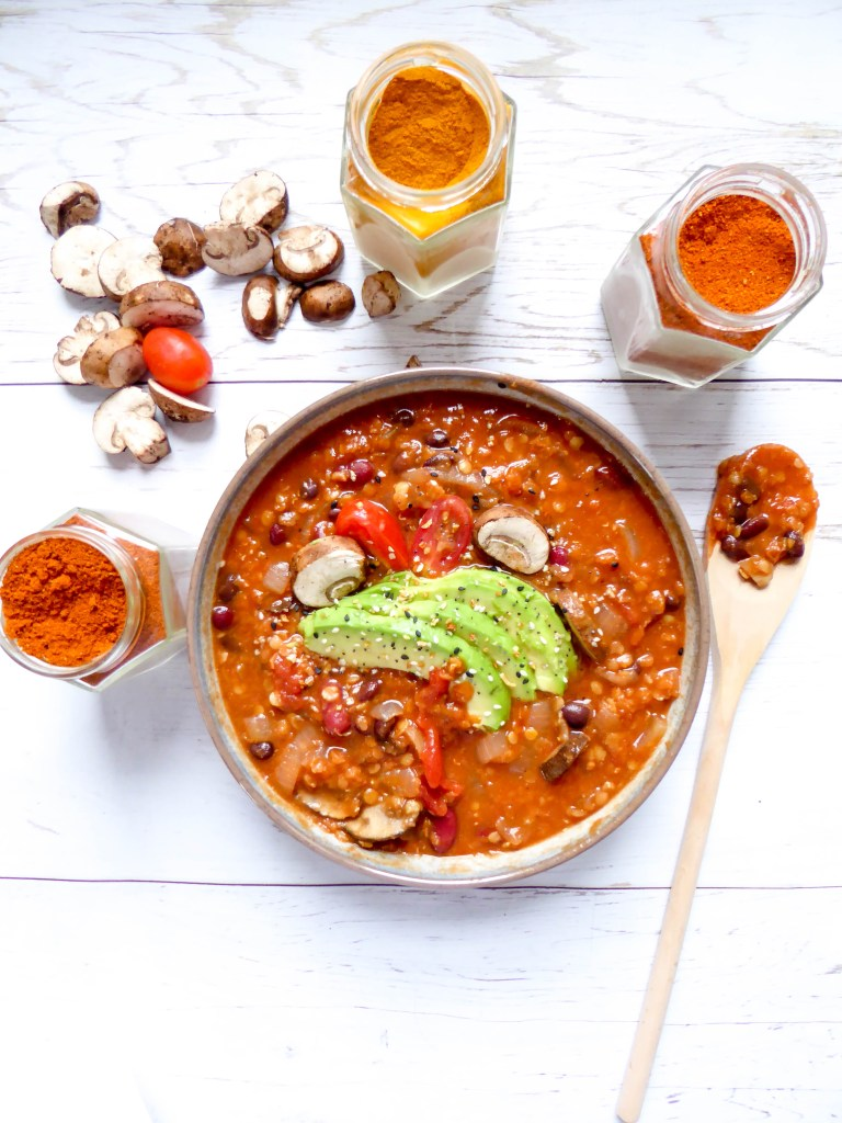 Lentils beans tomato stew - Vegan gluten free dish loaded in protein made in one bowl