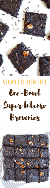 ONE-BOWL SUPER INTENSE BROWNIES - Addictive vegan and gluten-free healthy alternative to the classic brownies.