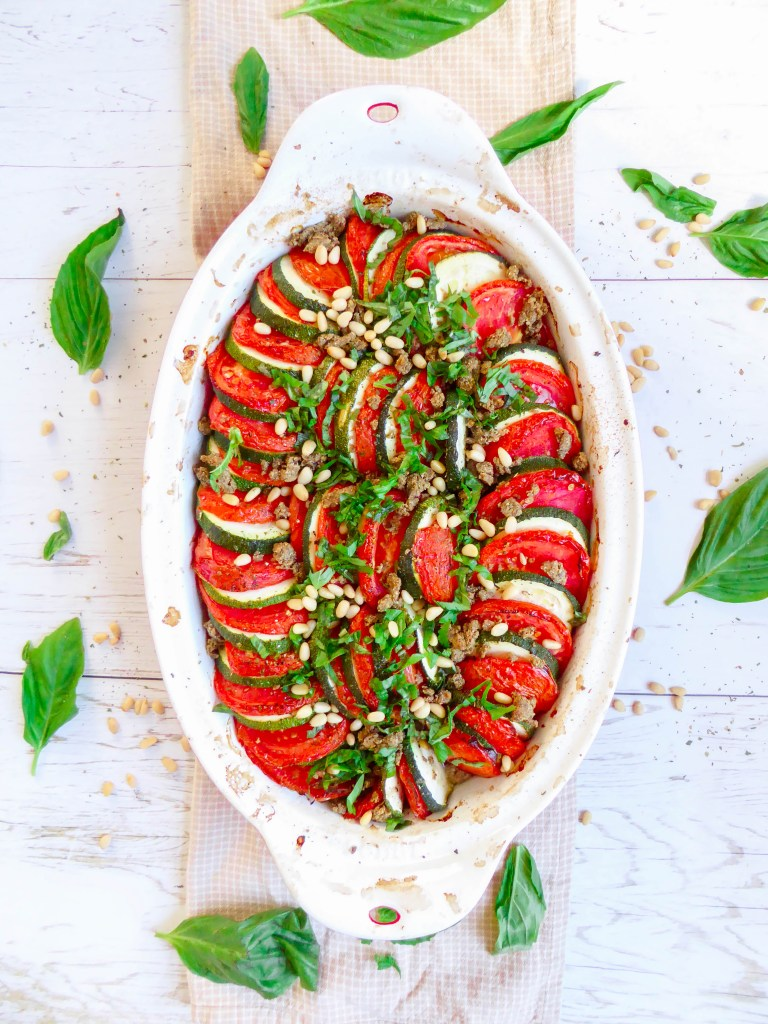 ZUCCHINI TOMATO TIAN-CRUMBLE - A mix between the famous two dishes. Ideal as a side dish or as a main vegetarian option.