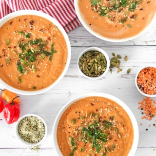 SWEET POTATOES LENTILS SOUP - super high in protein vegan friendly creamy soup