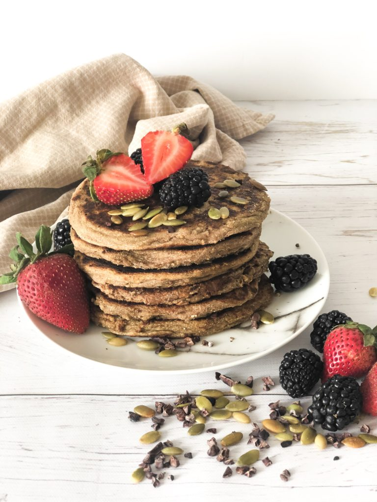 Ricotta pancakes - gluten-free heathy morning alternative, high in fiber and nutrients.
