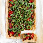 Gluten-Free Puff Pastry Pepper Onion Pie - Mouth-watering savory tart, a great alternative to regular puff pastry pie.