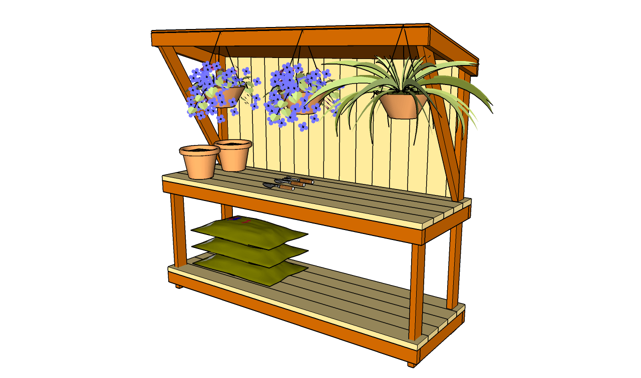 Pdf plans outdoor garden workbench plans download dremel for Garden potting bench designs