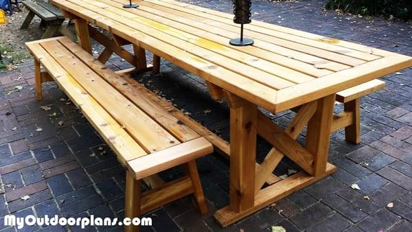 DIY Outdoor Trestle Table MyOutdoorPlans Free