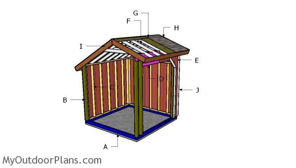 8x8 Loafing Shed Saltbox Roof Plans Myoutdoorplans