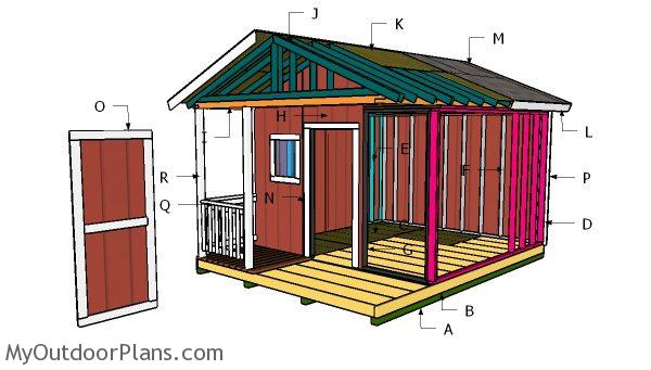12x12 Shed With Porch Roof Plans Myoutdoorplans Free