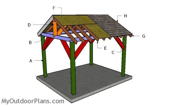 10x12 pavilion roof plans myoutdoorplans free, 10x12 pergola roof plans