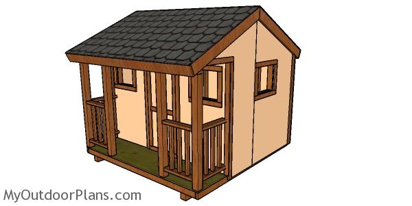 8x8 Playhouse Trims And Railings Plans Myoutdoorplans