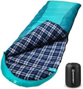 Bessport Lightweight Flannel Lined Sleeping Bag for Camping in 3-4 Season
