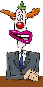 politician in clown mask