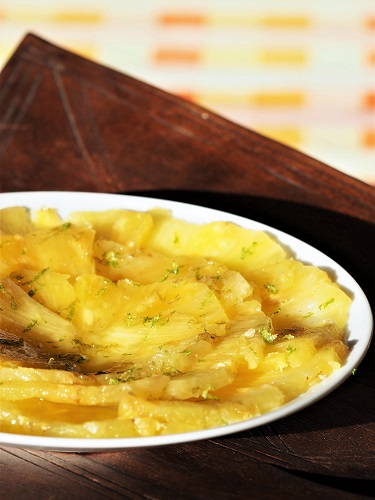 Pineapple Carpaccio with Lime and Ginger