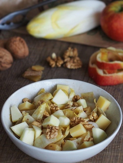 French Mixed Endive Salad with apples, cheese and walnuts