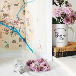 paris paper wall map