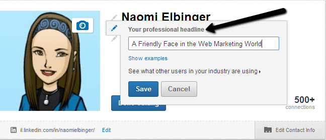 linkedin headline edit