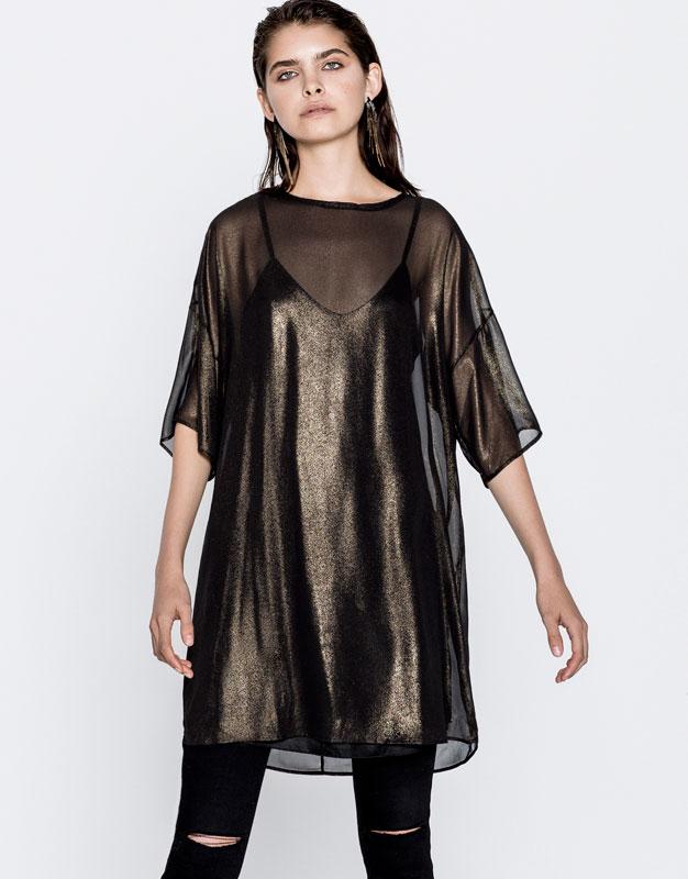 Robe dorée transparente Pull and bear